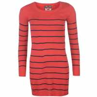 Lee Cooper Дамска Плетена Туника На Райе Stripe Long Knit Jumper Ladies Pink/Navy Дамски пуловери и жилетки
