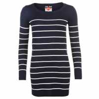 Lee Cooper Дамска Плетена Туника На Райе Stripe Long Knit Jumper Ladies Navy/White Дамски пуловери и жилетки