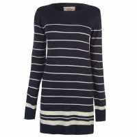 Lee Cooper Плетен Дамски Пуловер Long Stripe Knit Jumper Ladies Navy/White Дамски пуловери и жилетки