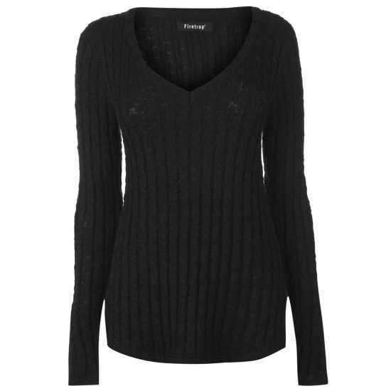 Firetrap Плетен Дамски Пуловер Cable Knit Jumper Ladies Black Дамски пуловери и жилетки