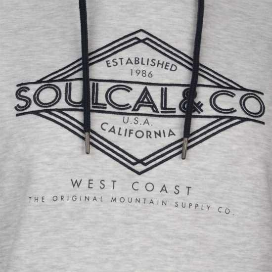 Soulcal Deluxe Chest Logo Sweatshirt Grey Дамски суичъри и блузи с качулки