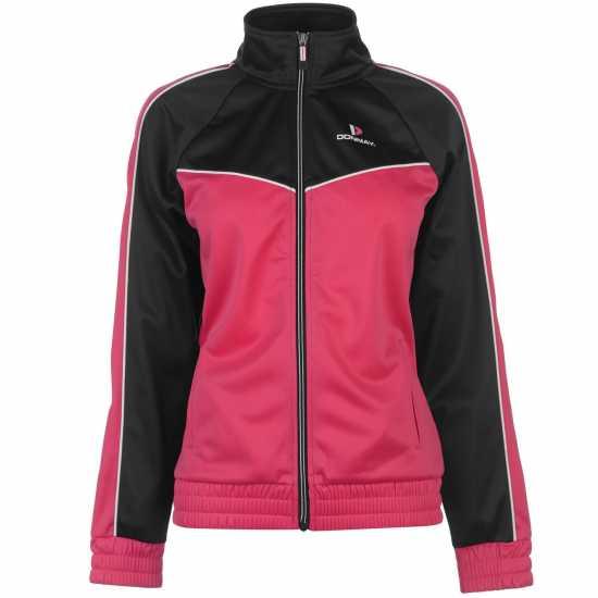 Donnay Дамски Спортен Екип Poly Tracksuit Ladies Blk/Wht/HotPink Дамски спортни екипи