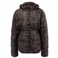 Lee Cooper Дамско Яке Leopard Print Jacket Ladies Black/Khaki Дамски якета и палта