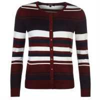 Miso Дамска Жилетка Stripe Button Cardigan Ladies Burgundy Дамски пуловери и жилетки