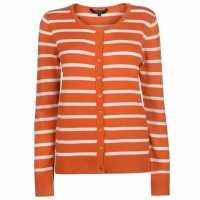 Miso Дамска Жилетка Stripe Button Cardigan Ladies Burnt Orange Дамски пуловери и жилетки