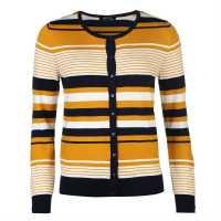 Miso Дамска Жилетка Stripe Button Cardigan Ladies Mustard Дамски пуловери и жилетки