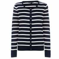 Miso Дамска Жилетка Stripe Button Cardigan Ladies Navy Дамски пуловери и жилетки