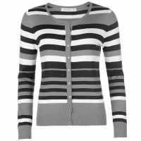 Miso Дамска Жилетка Stripe Button Cardigan Ladies Dark Grey Дамски пуловери и жилетки
