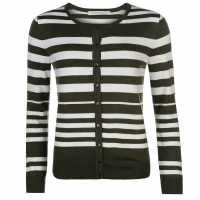 Miso Дамска Жилетка Stripe Button Cardigan Ladies Khaki Дамски пуловери и жилетки