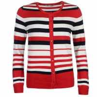 Full Circle Дамска Жилетка Stripe Button Cardigan Ladies Raspberry Дамски пуловери и жилетки