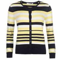 Full Circle Дамска Жилетка Stripe Button Cardigan Ladies Lemon Дамски пуловери и жилетки