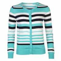 Miso Дамска Жилетка Stripe Button Cardigan Ladies Turquoise Дамски пуловери и жилетки