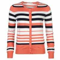 Miso Дамска Жилетка Stripe Button Cardigan Ladies Coral Дамски пуловери и жилетки