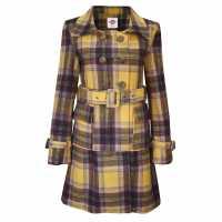 Lee Cooper Дамско Палто Check Wool Coat Ladies Yellow/Brown Дамски грейки