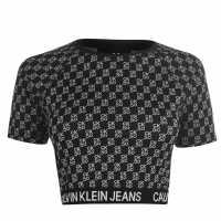 Calvin Klein All Over Print Crop Top  Дамски пуловери и жилетки