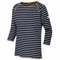 Regatta Polina  Three Quarter Sleeve T-Shirt Navy Stripe Дамски тениски с яка