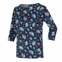 Regatta Polina  Three Quarter Sleeve T-Shirt Navy Floral Дамски тениски с яка