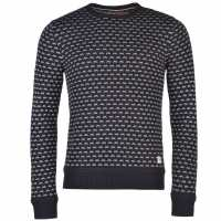Soulcal Плетен Мъжки Пуловер Patterned Crew Knit Jumper Mens White/Navy Мъжки пуловери и жилетки