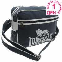 Lonsdale Чанта През Рамо С Цип Flight Bag Navy/White Чанти през рамо