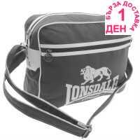 Lonsdale Чанта През Рамо С Цип Flight Bag Charcoal/White Чанти през рамо