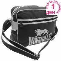 Lonsdale Чанта През Рамо С Цип Flight Bag Black/White Чанти през рамо