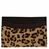 Biba Leather Card Holder Leopard Портфейли