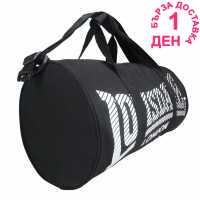 Lonsdale Цилиндрична Чанта Barrel Bag Black/White Сакове за фитнес