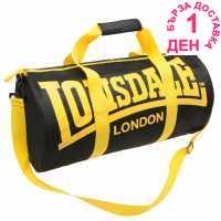 Lonsdale Цилиндрична Чанта Barrel Bag Black/Yellow Сакове за фитнес