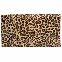Biba Fold Over Chain Clutch Bag Leopard Дамски чанти