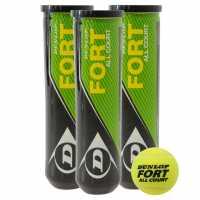 Dunlop Fort All Court Tennis Balls (4 Ball Tube) Yellow Топки за тенис