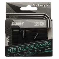 Mr Lacy Runnies Flat Black Връзки за обувки