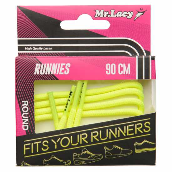 Mr Lacy Runnies Round Neon Yellow Връзки за обувки