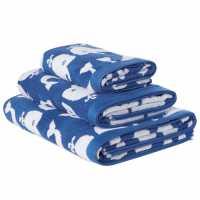 Linea Kids Bath Sheet Whale Blue Хавлиени кърпи
