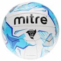 Mitre Футболна Топка Division Football White/Blue Футболни топки