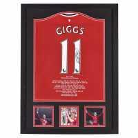 Team Ръчно Подписана Тениска Giggs Hand Signed Shirt Career Stats Сувенири