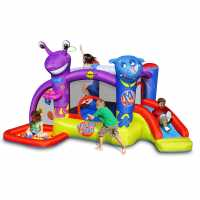 Outdoor Equipment Happy Hop Hop Friends On Mars Bouncy Castle With Slide And Ball Pit Multi Подаръци и играчки