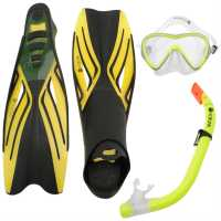 Hot Tuna Juniors Mask Snorkle Fin Set Yellow Воден спорт