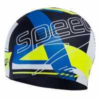 Speedo Slogan Swim Cap Navy/Bl/Yel Плувни очила и шапки