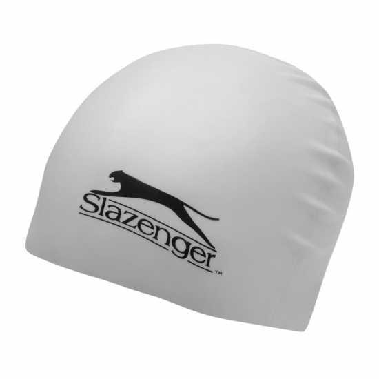 0272f4b7668 Slazenger Силиконова Плувна Шапка Silicone Swimming Cap Juniors White  Плувни очила и шапки