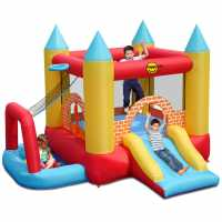 Happy Hop Hop Kids 4 In 1 10Ft X 9Ft Turret Bouncy Castle With Slide And Ball Pool Pit Multi Подаръци и играчки