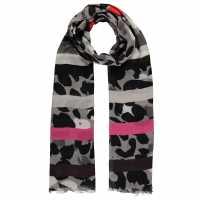 Biba Leopard Print Stripe Scarf Grey Leopard Ръкавици шапки и шалове