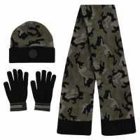 Firetrap 3 Piece Set Junior Boys Camo Ръкавици шапки и шалове