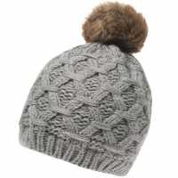 Gelert Cabel Pom Beanie Hat Ladies Grey Шапки с козирка