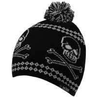 No Fear Skull Winter Hat Junior Boys Black/Grey Шапки с козирка