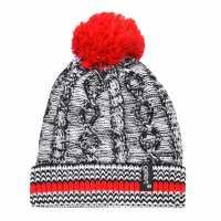 Gelert Cable Knit Pompom Beanie Juniors Black/Red Шапки с козирка