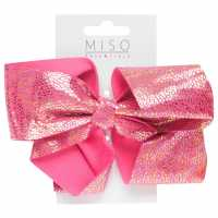 Miso Iridescent Junior Girls Bow Bright Pink Аксесоари за коса