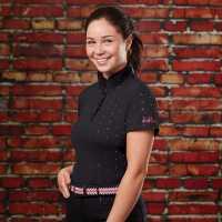 Dublin Дамска Тениска С Яка Marine Short Sleeve Polo Shirt Ladies Black Дамски тениски с яка