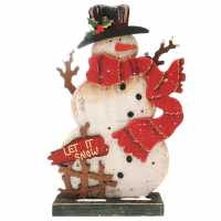 The Spirit Of Christmas Wooden Led Snowman - Коледна украса