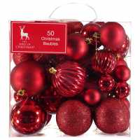 The Spirit Of Christmas 50 Pack Of Baubles Red Коледна украса