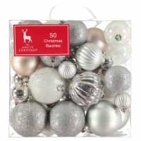 The Spirit Of Christmas 50 Pack Of Baubles Silver Коледна украса